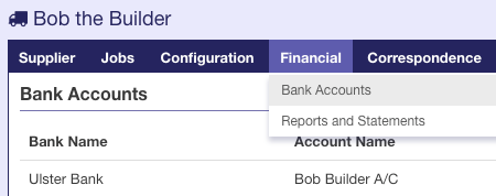 Record supplier bank account details – ShowHouse